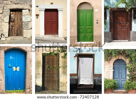 selection of many types of closed doors entrances - stock photo
