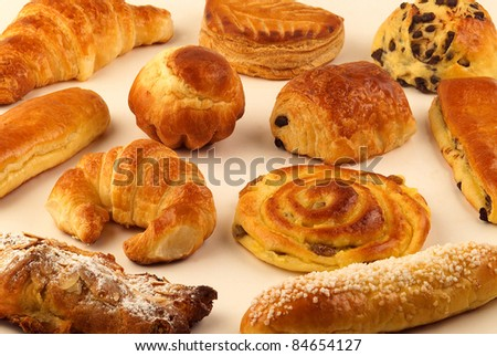 Selection of milk bread pastries - stock photo