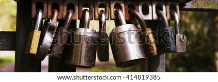 Selection of padlocks left on a gate