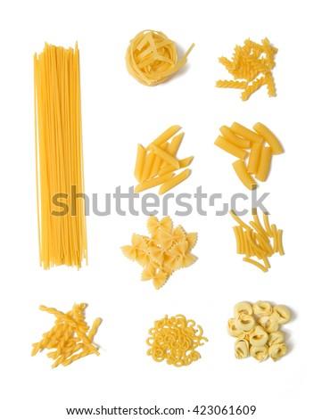 Selection of pasta on white background, Spaghetti, Penne, Tagliatelle, Fussili, Gemelli, Maccheroni, Rigatoni, Farfalle, Gobetti, Tortellini  - stock photo