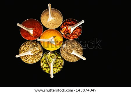 Selection of spices with spoons arranged in a circle with black background - stock photo