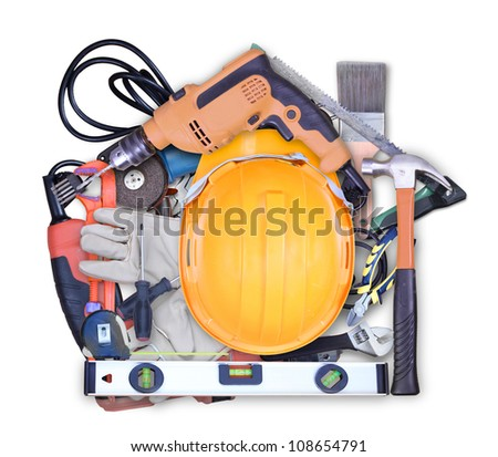 Selection of tools in the shape of a house - stock photo