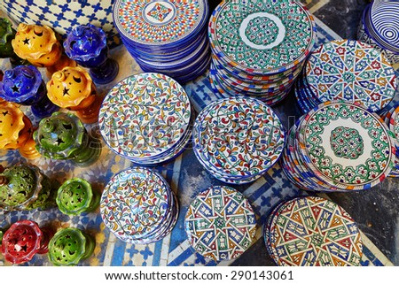 Selection of traditional ceramics on Moroccan market (souk) in Fes, Morocco - stock photo