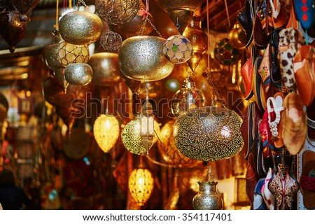 Selection of traditional lamps on Moroccan market (souk) in Marrakech, Morocco - stock photo
