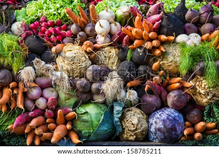 Selection of vegetables from a farmer's market in the small city of Colmar in the Alsace region in France - stock photo