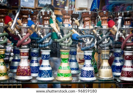 Selection of very colorful Moroccan ceramic - stock photo