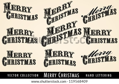 Selection of Vintage Merry Christmas lettering - Raster Version - stock photo