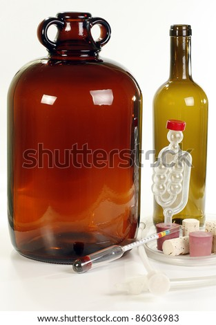 selection of wine making eqipment on a white background - stock photo