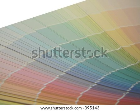 Selection samples of soft toned paint colors with  angled upper left corner space available for logos or text - stock photo