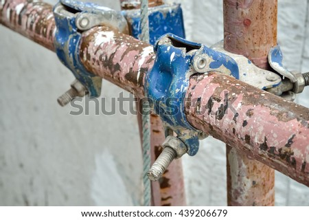 Selective focus and close up,Steel scaffolding, With place for your text
