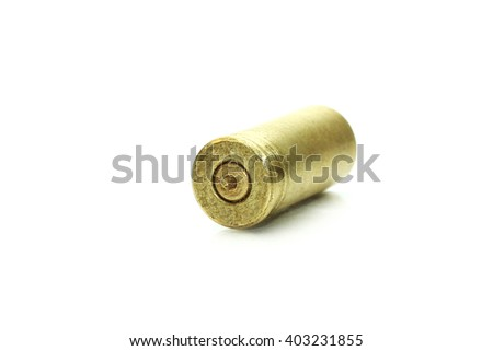 Selective focus bullets and shells pistol handgun isolated on soft white background - stock photo
