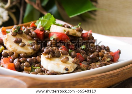 Selective focus image of a banana lentil salad, a vegetarian dish from South Africa.