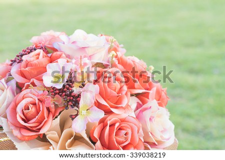 Selective focus image of flowers in the vintage retro picture style. space for text. - stock photo