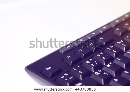 Selective focus,Keyboard computer on white background  with gradient filter effect,Keyboard computer close-up shot for background.