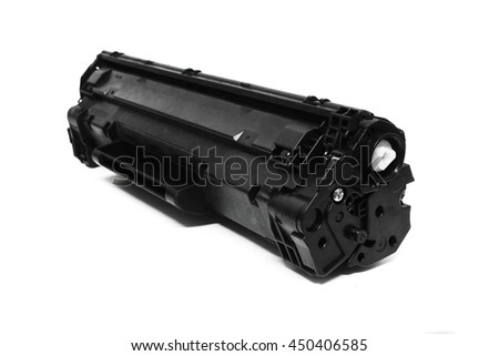 Selective Focus Laser Jet / Intjet toner cartridge isolated on the white background - stock photo