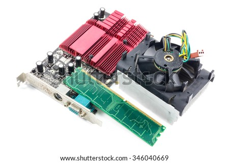 Selective focus mother board,cooler fan,ram card on white background. - stock photo