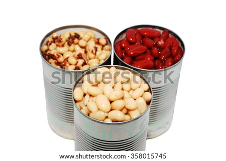 Selective focus of a variety of canned beans on a white background - stock photo