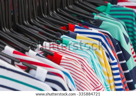 Selective focus of Colorful T-Shirt