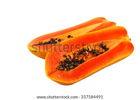 selective focus of fresh papaya isolated on white.