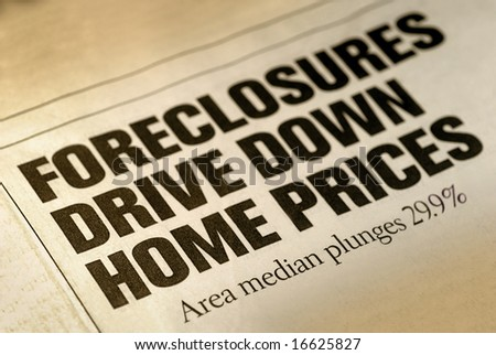 Selective Focus of Home Foreclosure Newspaper Headline - stock photo