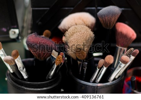 Selective focus of make up brushes on blurred background. Cosmetic Makeup Brush, Set of makeup brush, beauty set, , selective focus, Shallow depth of field - stock photo
