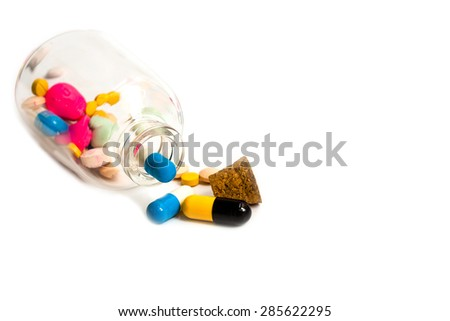 selective focus of pill pouring out of  bottle isolated on white, medical concept.