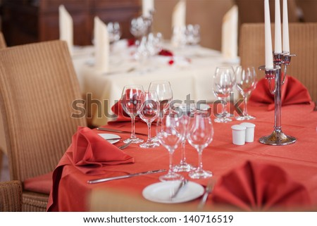 Selective focus of table setting in restaurant - stock photo
