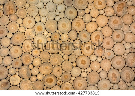 selective focus of Various size teak wood logs, Background - stock photo