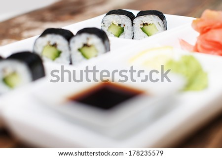 Selective focus on a vegeterian pair of sushi - stock photo
