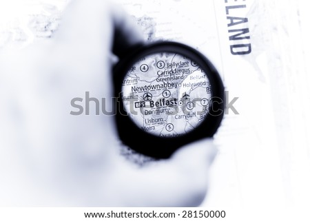 Selective focus on antique map of Belfast - stock photo