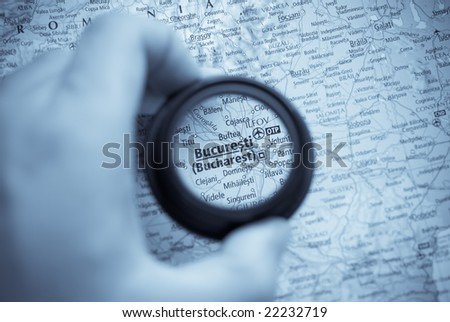 Selective focus on antique map of Bucharest