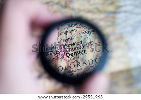 Selective focus on antique map of Denver - stock photo