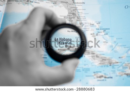 Selective focus on antique map of Havana