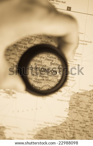 Selective focus on antique map of London