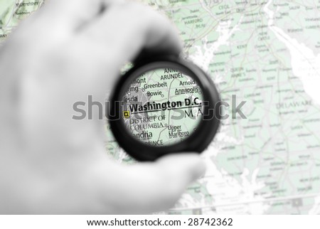 Selective focus on antique map of Washington D.C. - stock photo