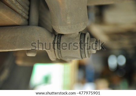 Selective focus on base of shock Absorber vehicle