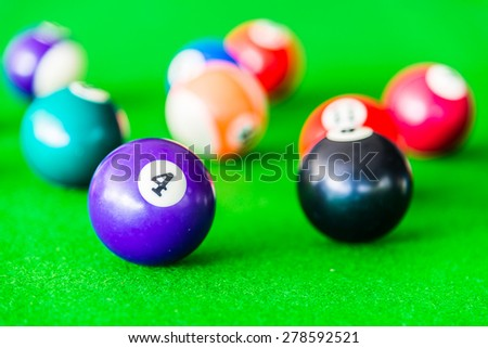 Selective focus on Billiards ball