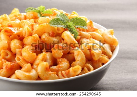 Selective focus on Pasta with vegetables. - stock photo