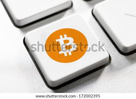 Selective focus on the bitcoin button - stock photo
