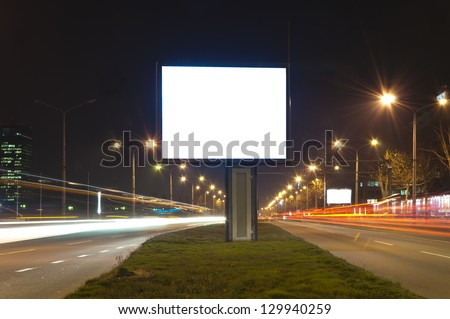 Selective focus on the blank billboard in long exposure
