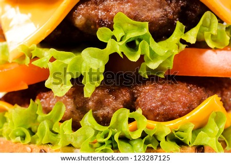 Selective focus on the burgers - stock photo