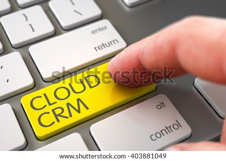 Selective Focus on the Cloud CRM Keypad. Hand Touching Cloud CRM Button. Man Finger Pushing Yellow Cloud CRM Button on Modern Keyboard. Finger Pushing Cloud CRM Button on Slim Aluminum Keyboard. 3D. - stock photo