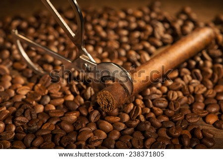 Selective focus on the Cuban cigar and cutter lying on the heap of coffee beans - stock photo