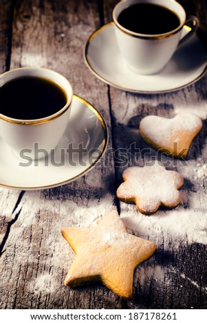 Selective focus on the front cookie with star shape  - stock photo