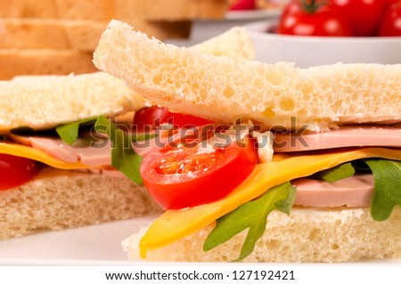 Selective focus on the front sandwich