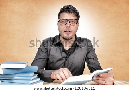 selective focus on the geek - stock photo