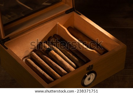 Selective focus on the great vintage humidor with Cuban cigars - stock photo