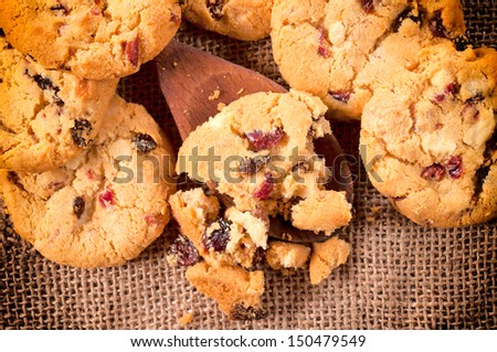 Selective focus on the homemade cookies on wooden ladle