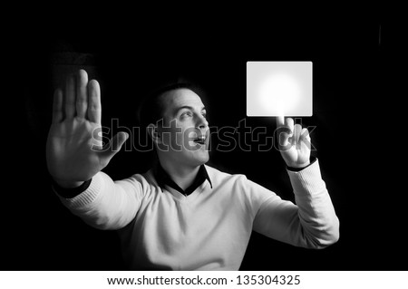 Selective focus on the left hand with finger up - stock photo
