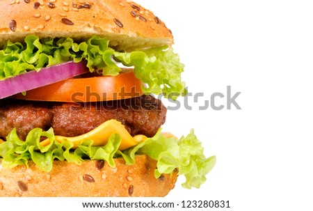 Selective focus on the meat in hamburger - stock photo